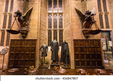 Leavesden, London - March 3 2016: The Hall in the Warner Brothers Studio tour 'The making of Harry Potter'.There is model of Slytherin from Harry Potter film