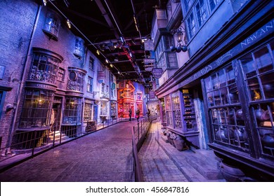 Leavesden, London - March 3 2016: Scene of buildings from Harry Potter film in the Warner Brothers Studio tour 'The making of Harry Potter'.