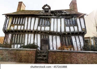 Leavesden, London - March 3 2016: Potter's Cottage in Godric's Hollow in the Warner Brothers Studio tour 'The making of Harry Potter'.