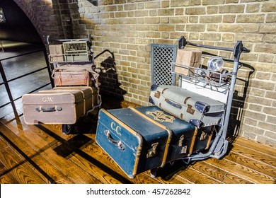 Leavesden, London - March 3 2016: Trolley and luggages from Harry Potter film, the Warner Brothers Studio tour 'The making of Harry Potter'.