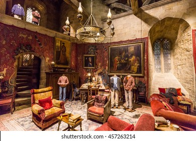 Leavesden, London - March 3 2016: Gryffindor common room, with costumes worn by the cast in the Warner Brothers Studio tour 'The making of Harry Potter'.