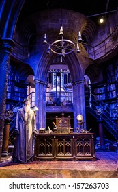 Leavesden, London - March 3 2016: Working room of Professor Albus Dumbledore in the Warner Brothers Studio tour 'The making of Harry Potter'.