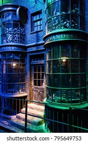 "LEAVESDEN, LONDON - NOVEMBER 11, 2017 -  Diagon alley and Shops at the Warner Brothers Studio tour ""The making of Harry Potter"""