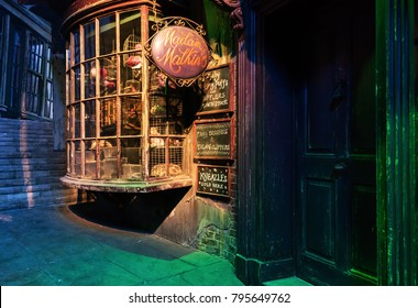 LEAVESDEN, LONDON - NOVEMBER 11, 2017 -  Diagon alley and Shops at the Warner Brothers Studio tour 'The making of Harry Potter'