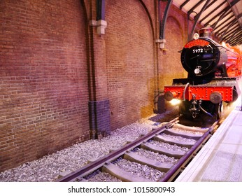 Leavesden, London, UK - DECEMBER 17th 2017: The Hogwarts Express and platform in the Warner Brothers Studio tour 'The making of Harry Potter'.