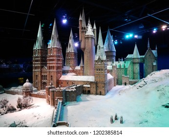 Leavesden, London, UK - DECEMBER 17th 2017: The Hogwarts castle in the Warner Brothers Studio tour 'The making of Harry Potter' from Harry Potter film. Its decoration for Christmas.