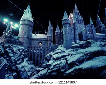 Leavesden, London, UK - DECEMBER 17th 2017: A scale model of Hogwarts castle in the Warner Brothers Studio tour 'The making of Harry Potter' from Harry Potter film. Its decoration for Christmas.