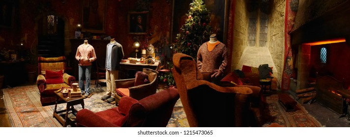 Leavesden, London, UK - DECEMBER 17th 2017: The living room in the Warner Brothers Studio tour 'The making of Harry Potter' from Harry Potter film. Its decoration for Christmas.