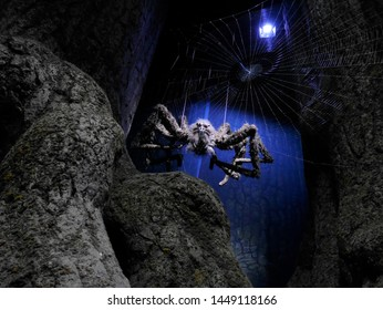 LEAVESDEN, LONDON, UK - DECEMBER 17th 2017: The spider in Forbidden Forest at the Warner Brothers Studio tour 'The making of Harry Potter' from Harry Potter film.