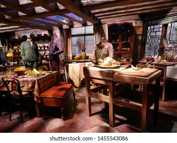 LEAVESDEN, LONDON, UK - DECEMBER 17th 2017: Scene of kitchen room from Harry Potter film in the Warner Brothers Studio tour 'The making of Harry Potter'.