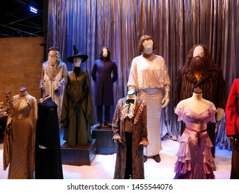 Leavesden, London, UK - DECEMBER 17th 2017: The costume dress in the Warner Brothers Studio tour 'The making of Harry Potter'. There is model of dress theme from Harry Potter film.