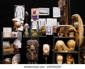 Leavesden, London, UK - DECEMBER 17th 2017: The costume design in the Warner Brothers Studio tour 'The making of Harry Potter'. There is model of dress theme from Harry Potter film.