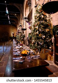 Leavesden, London, UK - DECEMBER 17th 2017: The Hall in the Warner Brothers Studio tour 'The making of Harry Potter'. There is model of the Christmas tree and   hall from Harry Potter film.