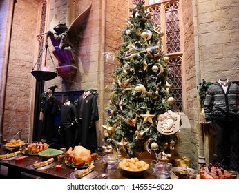 Leavesden, London, UK - DECEMBER 17th 2017: The Hall in the Warner Brothers Studio tour 'The making of Harry Potter'. There is model of dress theme from Harry Potter film. Its decoration for Christmas
