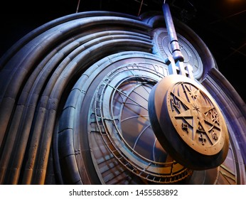 Leavesden, London, UK - DECEMBER 17th 2017: A giant clock in Hogwarts as featured in Harry Potter and the Prisoner of Azkaban, the Warner Brothers Studio tour 'The making of Harry Potter'.