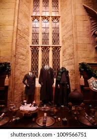 Leavesden, London, UK - DECEMBER 19th 2017: The Hall in the Warner Brothers Studio tour 'The making of Harry Potter'. There is model of Slytherin from Harry Potter film.