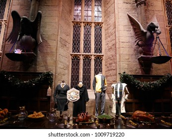 Leavesden, London, UK - DECEMBER 19th 2017: The Hall in the Warner Brothers Studio tour 'The making of Harry Potter'. There is model of Hufflepuff from Harry Potter film.