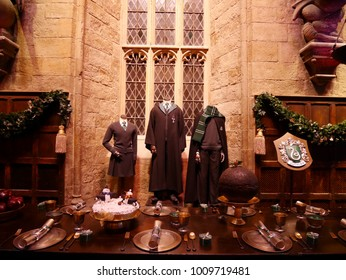 Leavesden, London, UK - DECEMBER 19th 2017: The Hall in the Warner Brothers Studio tour 'The making of Harry Potter'.There is model of Slytherin from Harry Potter film.