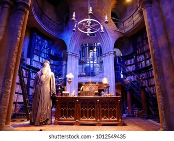 LEAVESDEN, LONDON, UK - DECEMBER 19th 2017: Dumbledore's Office in the great hall at the Warner Brothers Studio tour 'The making of Harry Potter'. There is model of Dumbledore from Harry Potter film.