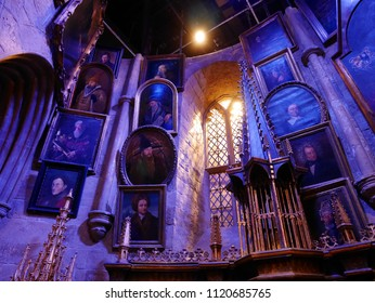 LEAVESDEN, LONDON, UK - DECEMBER 19th 2017: Dumbledore's office in the great hall at the Warner Brothers Studio tour 'The making of Harry Potter'. There are many frame pictures from Harry Potter film.