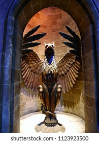 Leavesden, London, UK - DECEMBER 19th 2017: The statue in the Warner Brothers Studio tour  'The making of Harry Potter'. There is model of the statue decorated in Harry Potter film.