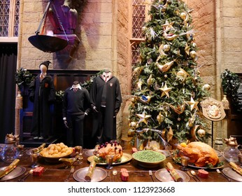 Leavesden, London, UK - DECEMBER 19th 2017: The Hall in the Warner Brothers Studio tour 'The making of Harry Potter'. There is model of dress theme from Harry Potter film. Its decoration for Christmas