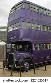 Leavesden, London, UK - July 20, 2018: Warner Bros. Studio Tour 'The  Making of Harry Potter' - Purple knight bus is 6.7 metres (22 feet) tall and was created from three vintage London double-deckers