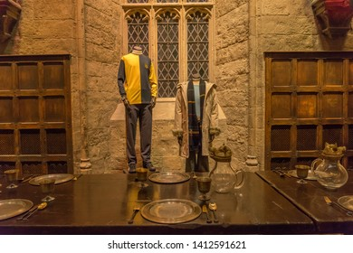 Leavesden, London, UK - May 2019: Warner Bros. Studio Tour 'The Making of Harry Potter' costumes on display in The Great Hall
