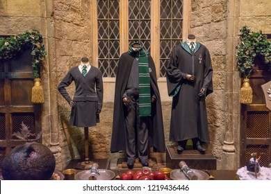 Leavesden, London, UK - November 2014: Warner Bros. Studio Tour 'The Making of Harry Potter' slytherin costumes and props on display