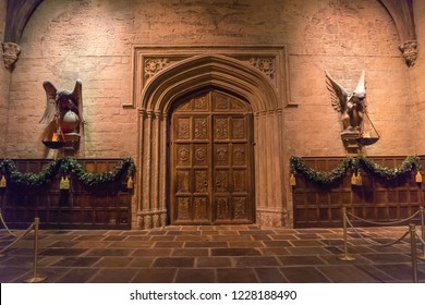 Leavesden, London, UK - November 2014: Warner Bros. Studio Tour 'The Making of Harry Potter' large doors leading into the grand Hall, decorated for Christmas, used in the making of the films