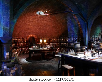Leavesden, London,UK -DECEMBER 17th 2017: The Severus Snape' potion room in the Warner Brothers Studio tour'The making of Harry Potter'. There is model of medicine room from Harry Potter film.