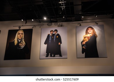 Leavesden UK - 26 Oct 2015: Show case of key actors/ actresses at the hall ceiling of The Marking of Harry Potter, WB Studio