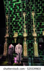 Leavesden UK - 26 Oct 2015: Costume and decoration at Slytherin table, at The Making of Harry Potter, WB Studio