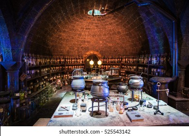 Leavesden UK - 26 Oct 2015: At Snape's potion room, The Making of Harry Potter, WB Studio