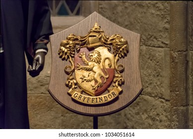 LEAVESDEN, UK - FEBRUARY 24TH 2018: Crest of Gryffindor house at the Making of Harry Potter tour at Warner Bros studio in Leavesden, UK