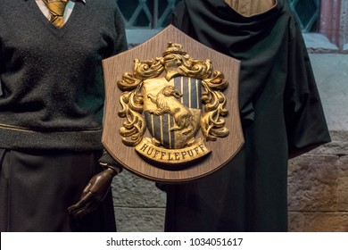 LEAVESDEN, UK - FEBRUARY 24TH 2018: Crest of Hufflepuff house at the Making of Harry Potter tour at Warner Bros studio in Leavesden, UK