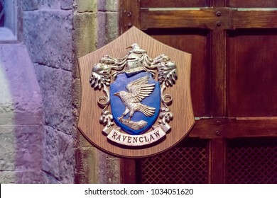 LEAVESDEN, UK - FEBRUARY 24TH 2018: Crest of Ravenclaw house at the Making of Harry Potter tour at Warner Bros studio in Leavesden, UK