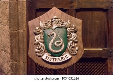 LEAVESDEN, UK - FEBRUARY 24TH 2018: Crest of Slytherin house at the Making of Harry Potter tour at Warner Bros studio in Leavesden, UK