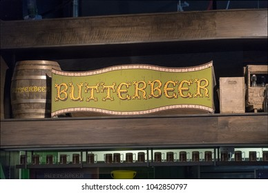 LEAVESDEN, UK - FEBRUARY 24TH 2018: Butterbeer sign display at the Making of Harry Potter tour at Warner Bros studio in Leavesden, UK
