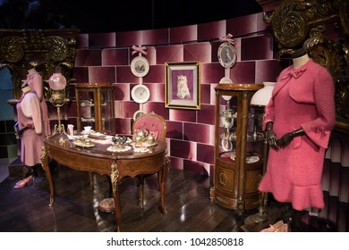 LEAVESDEN, UK - FEBRUARY 24TH 2018: Dolores Umbridge office display at the Making of Harry Potter tour at Warner Bros studio in Leavesden, UK