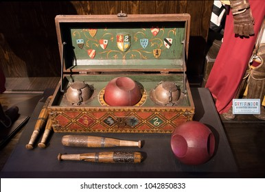LEAVESDEN, UK - FEBRUARY 24TH 2018: Set of Quidditch balls  at the Making of Harry Potter tour at Warner Bros studio in Leavesden, UK