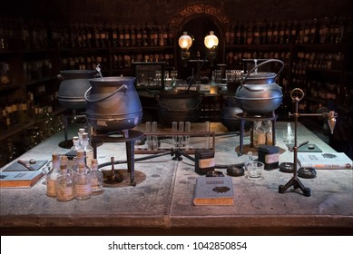LEAVESDEN, UK - FEBRUARY 24TH 2018: Potion room display at the Making of Harry Potter tour at Warner Bros studio in Leavesden, UK