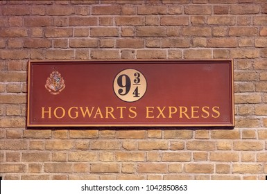 LEAVESDEN, UK - FEBRUARY 24TH 2018: Platform 9 and three quarters sign Hogwarts Express at the Making of Harry Potter tour at Warner Bros studio in Leavesden, UK