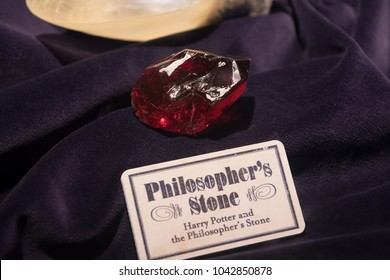 LEAVESDEN, UK - FEBRUARY 24TH 2018: Philosopher's stone on display at the Making of Harry Potter tour at Warner Bros studio in Leavesden, UK