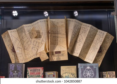 LEAVESDEN, UK - FEBRUARY 24TH 2018: Marauders map on display at the Making of Harry Potter tour at Warner Bros studio in Leavesden, UK