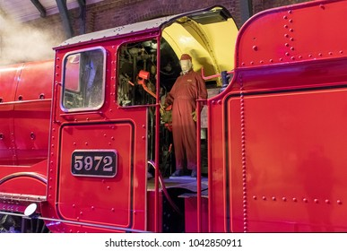 LEAVESDEN, UK - FEBRUARY 24TH 2018: Hogwarts Express steam train at the Making of Harry Potter tour at Warner Bros studio in Leavesden, UK