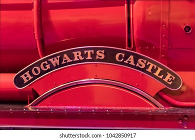 LEAVESDEN, UK - FEBRUARY 24TH 2018: Hogwarts Castle sign on side of train at the Making of Harry Potter tour at Warner Bros studio in Leavesden, UK