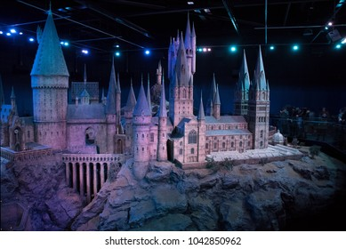 LEAVESDEN, UK - FEBRUARY 24TH 2018: Hogwarts castle model display at the Making of Harry Potter tour at Warner Bros studio in Leavesden, UK