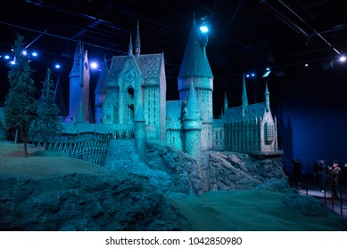 LEAVESDEN, UK - FEBRUARY 24TH 2018: Hogwarts castle model display at the Making of Harry Potter tour at Warner Bros studio in Leavesden, UK