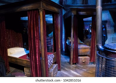 LEAVESDEN, UK - FEBRUARY 24TH 2018: Gryffindor dormitory display at the Making of Harry Potter tour at Warner Bros studio in Leavesden, UK
